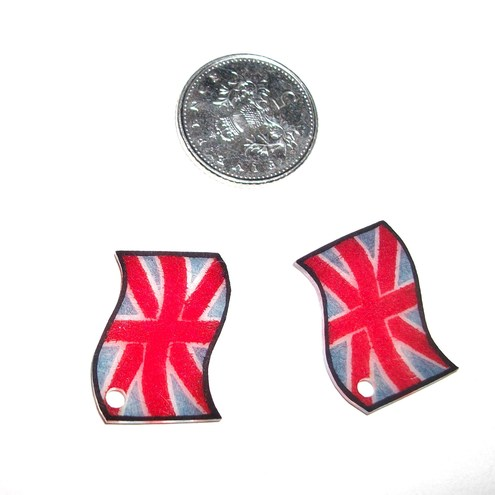 Plastic Patriotic Union Jack Flag Charms x 2 TWO