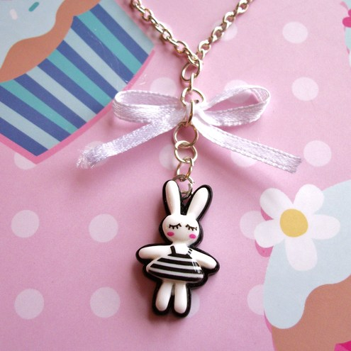 Cute black and white kawaii bunny & bow necklace