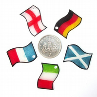 Italian German England Scotland Flag Charms x 4 FOUR