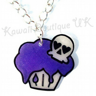 Purple Skull Toxic Cupcake Necklace