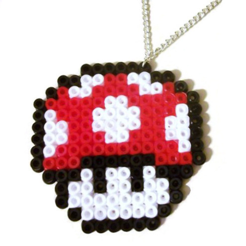 supermario red and white mushroom kawaii necklace