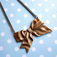 Large Bronze Bow Necklace