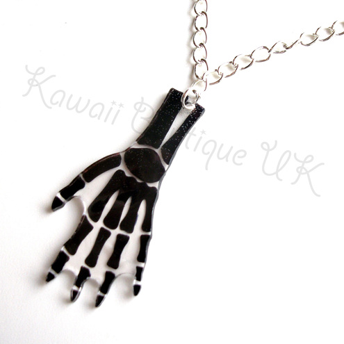 Black Skeleton Hand Bones Necklace