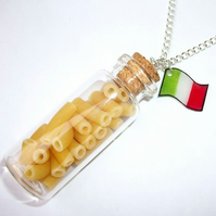 Jar Of Pasta & Italian Flag Necklace