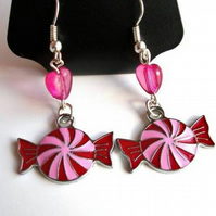 Pink & Red Enamel Sweeties Earrings
