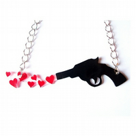 Black Pistol Shooting Love Hearts Necklace