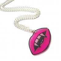 Pink Vampire Lips Necklace