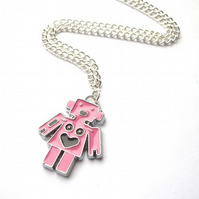 Glossy Pink Robot Necklace