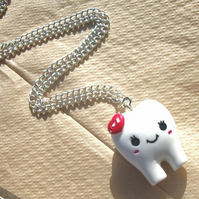 Kawaii Tooth Necklace in Red