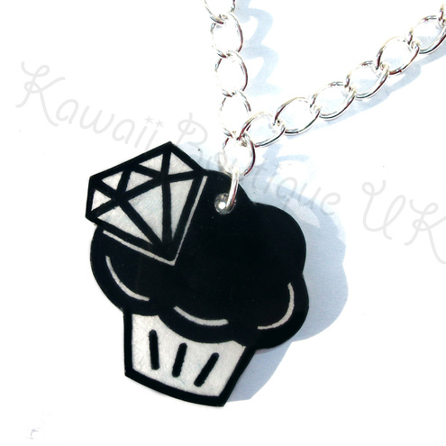 Black and white diamonds & cupcakes necklace