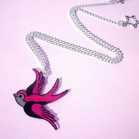 Pink Swallow Tattoo Necklace