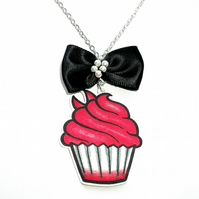 Red Devil Cupcake & Black Bow Necklace