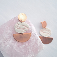 Porcelain PEBBLE statement earrings, contemporary geometric copper