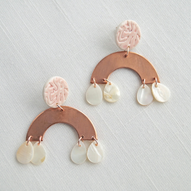 Copper RAINBOW statement earrings, pink porcelain shell drops rose gold studs