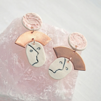 Linear FACE statement earrings, copper pink porcelain rose gold studs