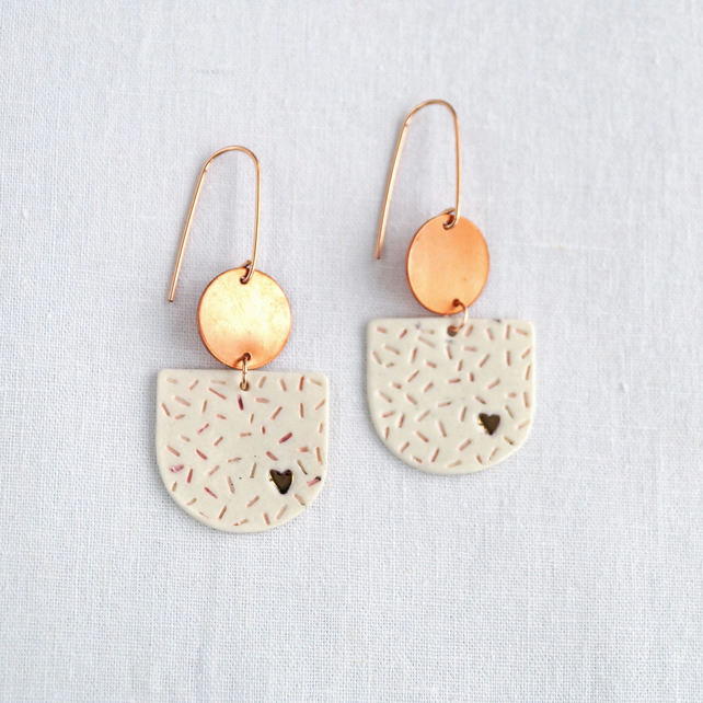 Copper HEART statement earrings, pink white confetti pattern porcelain rose gold