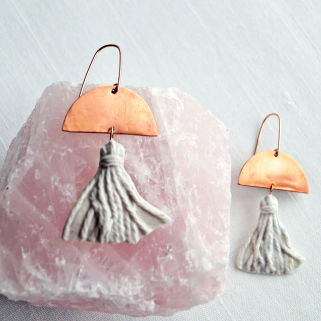 Porcelain TASSEL statement earrings, copper rose gold