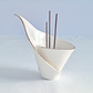 Porcelain spiral LILY incense stick holder, ceramic burner, white Gold