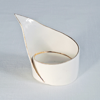 Spiral LILY luxury ceramic candle holder, gold lustre white porcelain