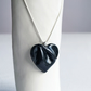 Large black HEART necklace, porcelain ceramic, 925 sterling silver
