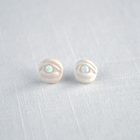 EYE LIGHT earrings, mystic eye earrings, porcelain opal sterling silver