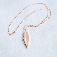 FEATHER necklace, blush pink porcelain, rose gold chain