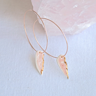 FEATHER hoop earrings, white or pink porcelain, rose gold hoops