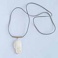 HAND amulet pendant necklace, long grey leather cord, porcelain rose gold silver