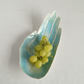 Large ceramic hand fruit bowl, porcelain PALM, aqua turquiose