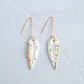 Ceramic FEATHER dangle earrings, speckled white porcelain, rose gold ear wires