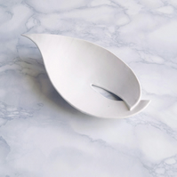 White ceramic soap dish, draining, porcelain calla lily leaf, large