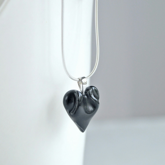 Small black HEART necklace porcelain ceramic, 925 sterling silver snake chain