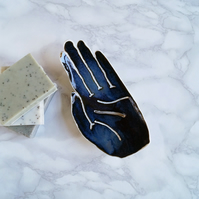 Ceramic HAND soap dish, draining, white porcelain, dark blue midnight glaze