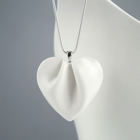 Large white HEART necklace, porcelain ceramic, 925 sterling silver