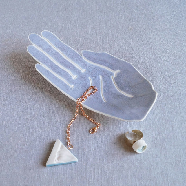 PALM ceramic hand ring dish, white porcelain hand jewellery dish, Blue grey