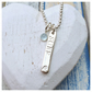 SurferGirl - handstamped sterling silver ingot twinned with sky blue topaz