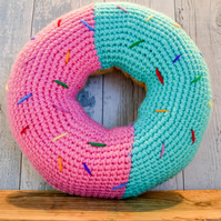 Large Doughnut Cushion.Crochet Donut.Retro Style.Choose from 69 Colours.