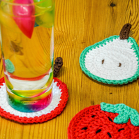 Summer Fruit Slice Coasters.Sets of 2,4 or 6.