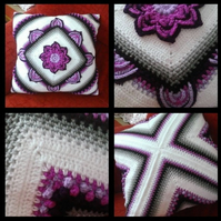 In Bloom Luxury Large Cushion.Crochet.50 x 50 cm (20 x 20 inches).Home Decor.