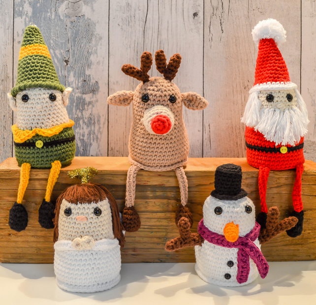 Shelf Sitting Christmas Themed Characters.Amigurumi.These are NOT toys.