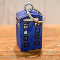 Tardis Keyring.Bag Charm.Dr Who.Upcycled Wooden Home Decor.Sci-Fi.Geek Chic.