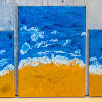 Abstract Seascape Landscape Paintings.Triptych Fluid Flow Art Acrylic Pour.