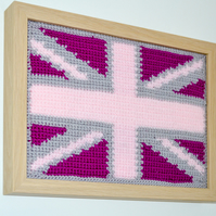 Crochet Pink Union Jack Flag.Framed and unglazed,Home Decor,Shabby Chic Style.