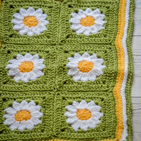 Daisy Flowers Design Crochet Baby Blanket.100cm x 80cm.Choose from 92 colours.