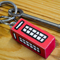 London Phone Box-Booth.Keyring-Bag Charm.Wooden Home Decor.Shabby Chic.