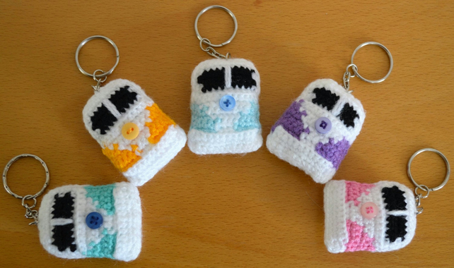 Camper Van Keyring Bag Charm.Crochet.Home Decor.Choose from 92 Colours.