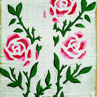 Wild Roses Wall Sign.Upcycled Wooden Home Decor.Shabby Chic.Rustic Retro Vintage