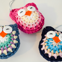 Wise Owl Bird Christmas Tree Decoration.Crochet Amigurumi.Choose from 37 Colours