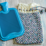 Full Size 2 litre Hot Water Bottle Cover.Crochet.Chunky.Choose from 12 Colours.