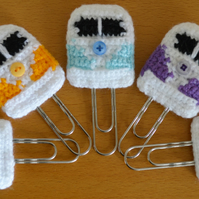 Camper Van Paperclip Bookmark.Crochet.Retro Style.Choose from 92 Colours.